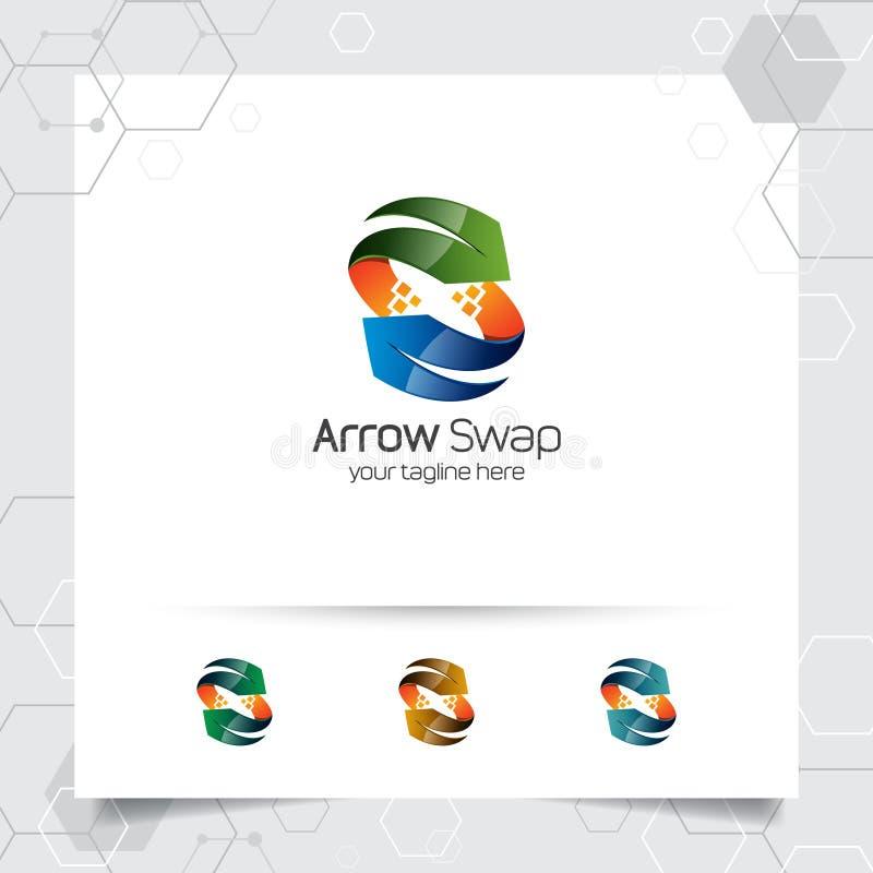 3D箭头商标与五颜六色的现代样式的概念的设计传染媒介数字事务、网站、机构和演播室的 皇族释放例证