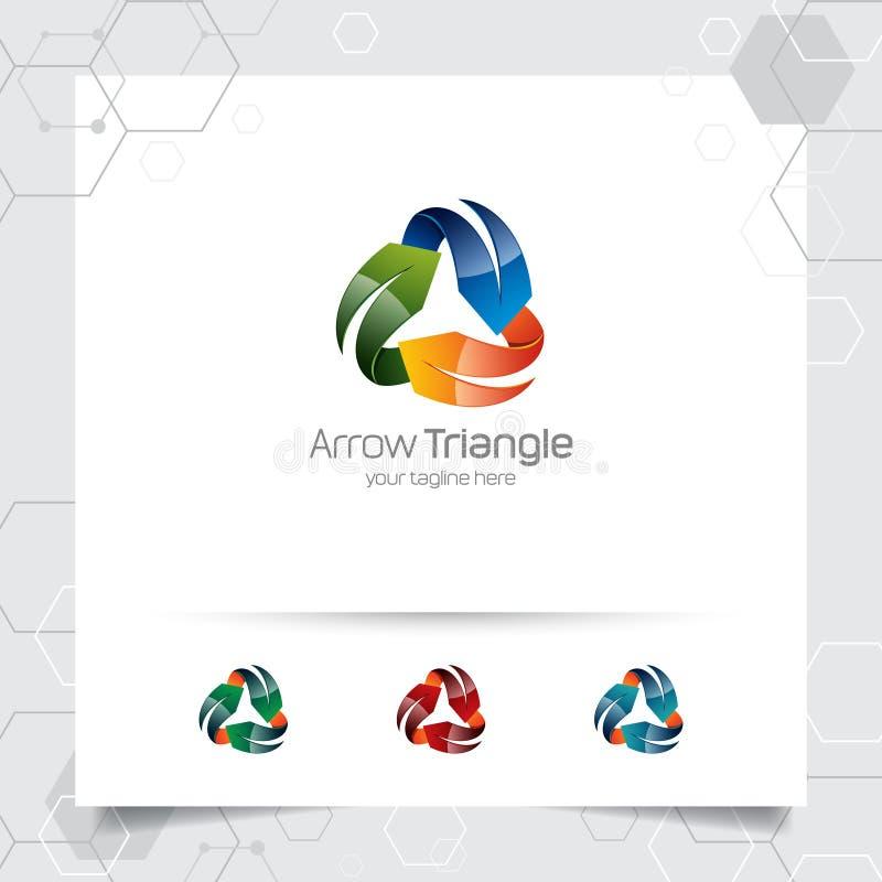 3D箭头商标与五颜六色的现代样式的概念的设计传染媒介数字事务、网站、机构和演播室的 向量例证