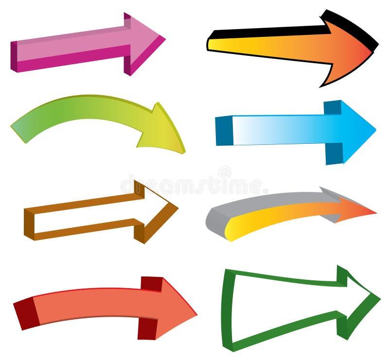 3D箭头象元素集 向量例证