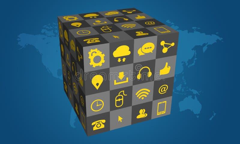 3D箱子在蓝色背景的社会媒介象 向量例证