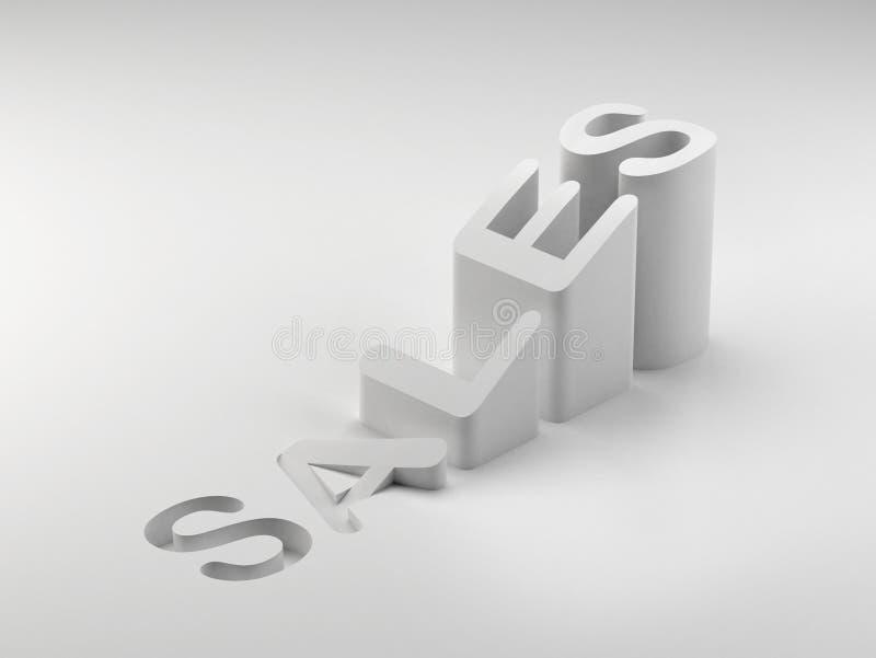 3d篮子铸造增长销售额购物 向量例证