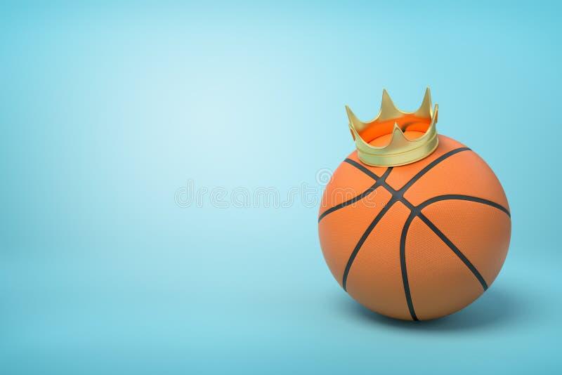3d篮球特写镜头翻译与小金黄冠的在浅兰的背景的上面 免版税库存图片