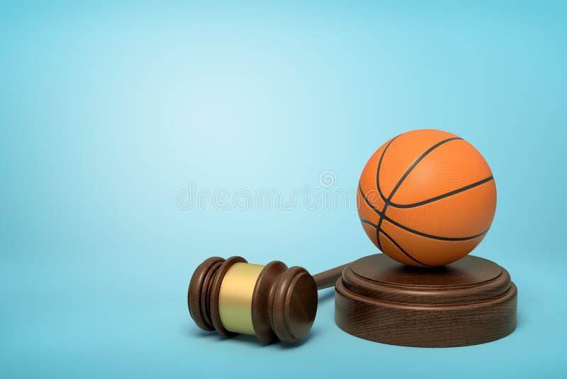 3d篮球翻译在听起来块的与说谎此外在浅兰的背景的法官惊堂木 库存照片