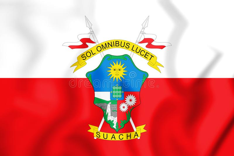 3D索阿查昆迪纳马卡省,哥伦比亚旗子  库存例证