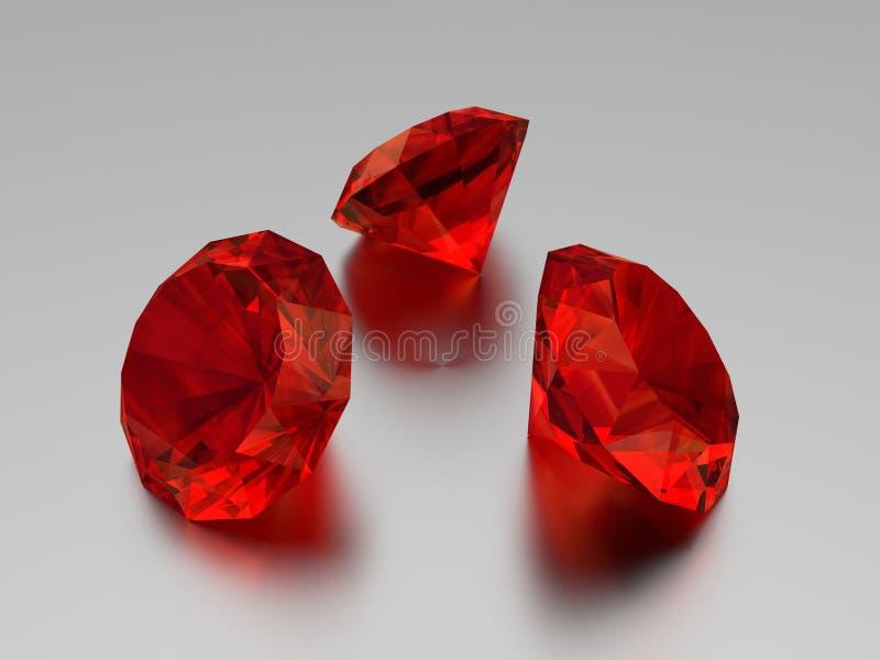 3D红宝石- 3颗宝石 皇族释放例证