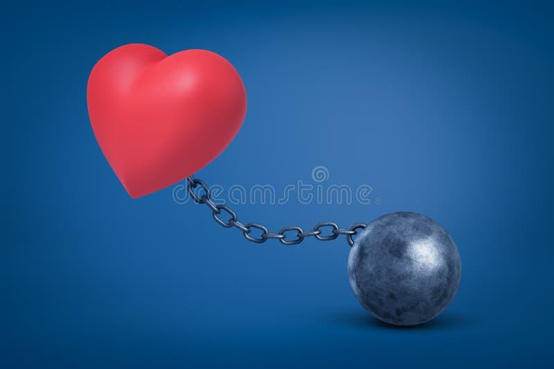 3d红心翻译被束缚对在蓝色背景的金属球 向量例证