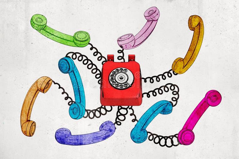 3d红色古板的导线电话翻译有在白色背景隔绝的五颜六色的导线接收器的 库存例证