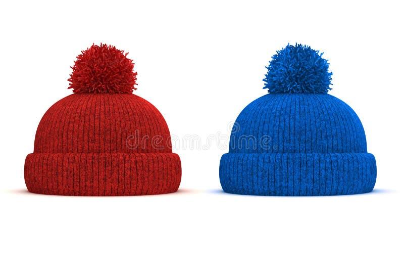 3d红色和蓝色被编织的冬天盖帽 皇族释放例证