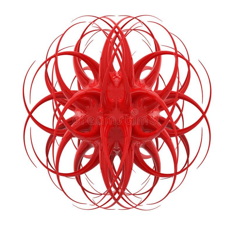 3D红色有机对象 库存例证
