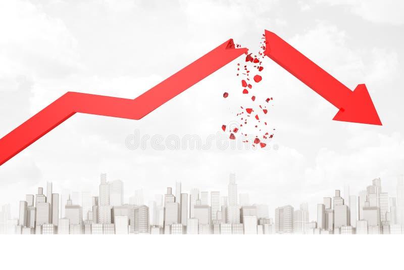 3d红色残破的财政图箭头翻译在白色城市摩天大楼背景的 向量例证