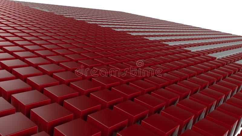 3D红色求背景的立方 向量例证