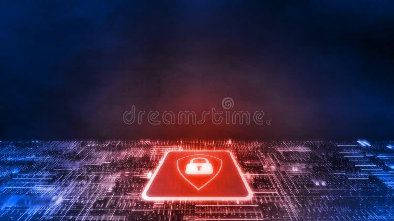 3D红色盾商标翻译在微集成电路的有焕发电路板的 企业安全的概念 向量例证