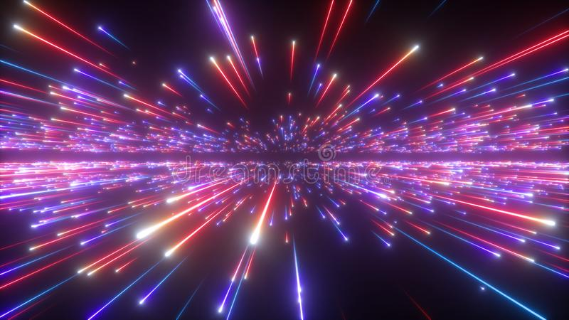 3d红色蓝色烟花,抽象宇宙背景,大轰隆,星系,流星,波斯菊,神圣,宇宙,光速 库存照片