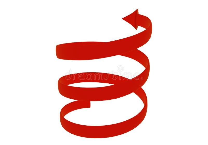 3d红色螺旋箭头 3d翻译 库存照片