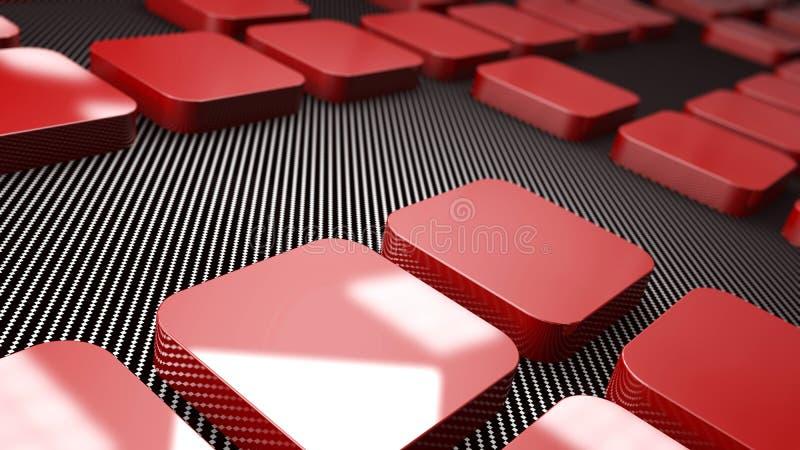 3d红色金属和碳正方形背景 皇族释放例证