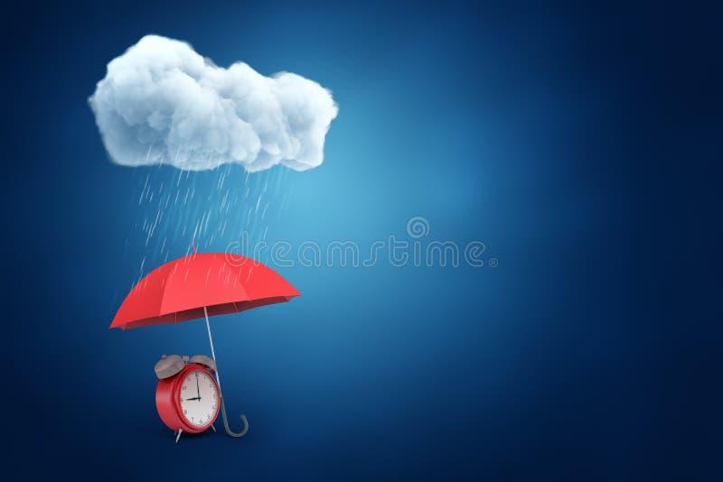 3d红色闹钟翻译在有上面云彩和雨下落的红色伞下在蓝色背景 免版税库存照片