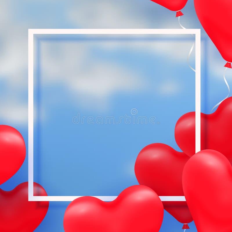 3d纸削减了3d在蓝色背景的光滑的红色气球心脏的例证与云彩 向量 皇族释放例证