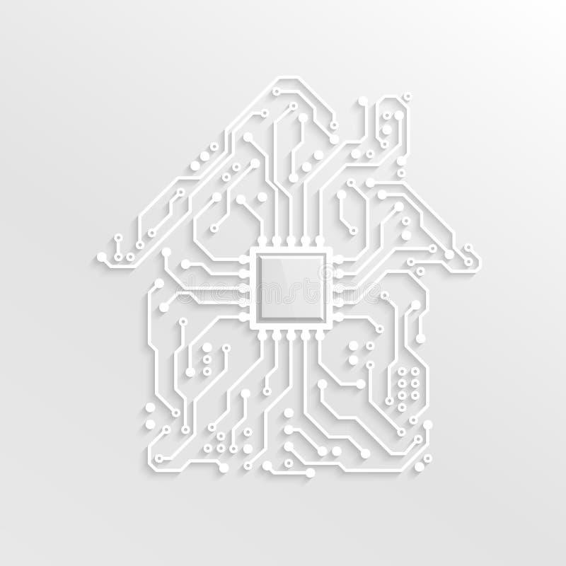 3D纸聪明的家庭概念 有里面CPU的电路议院 未来技术背景 也corel凹道例证向量 皇族释放例证