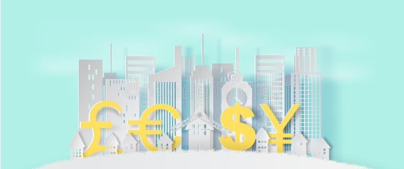 3d纸艺术和都市风景和lanscape工艺样式与busi 皇族释放例证