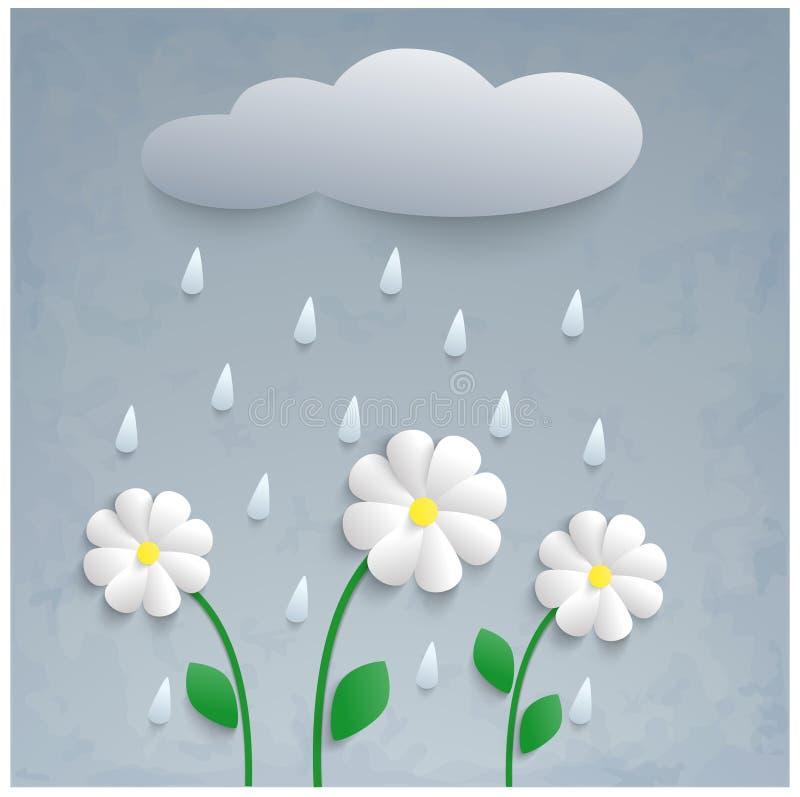 3d纸花、雨和云彩 库存例证