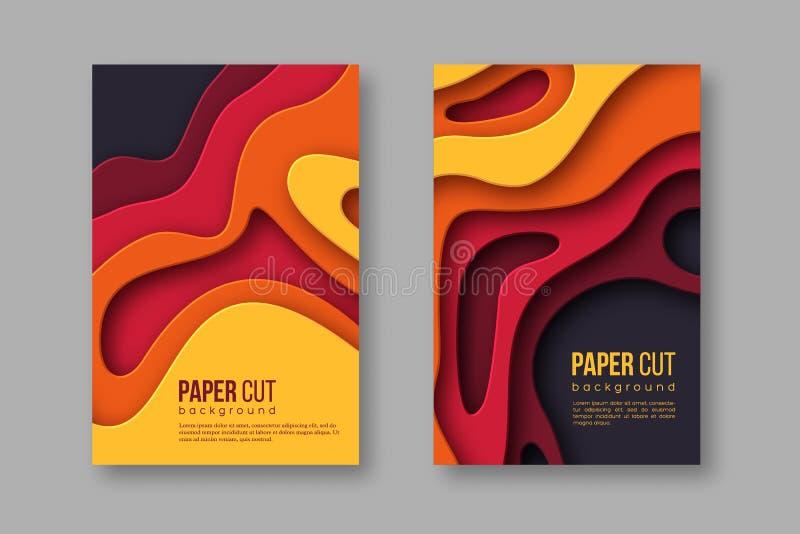 3d纸被切开的垂直的横幅 与阴影的形状在秋天颜色-黄色,橙色,伯根地和紫罗兰 设计为 向量例证