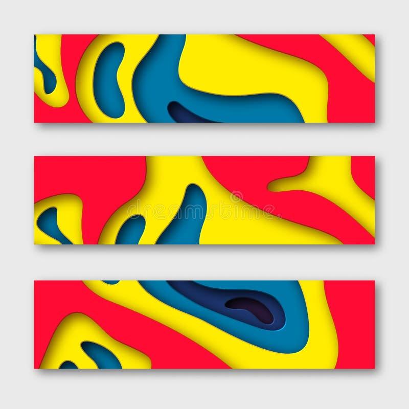 3d纸被切开的水平的横幅 与阴影的形状在白色和黄色,红色,蓝色 Papercraft分层了堆积艺术 设计为 皇族释放例证