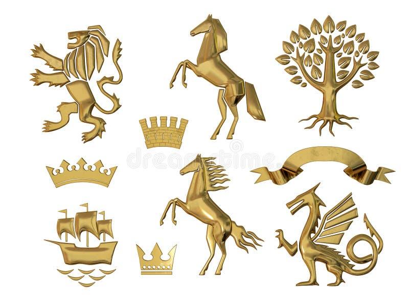 3D纹章的例证 一套对象 金黄橄榄树枝,橡木分支,冠,狮子,马,树 向量例证
