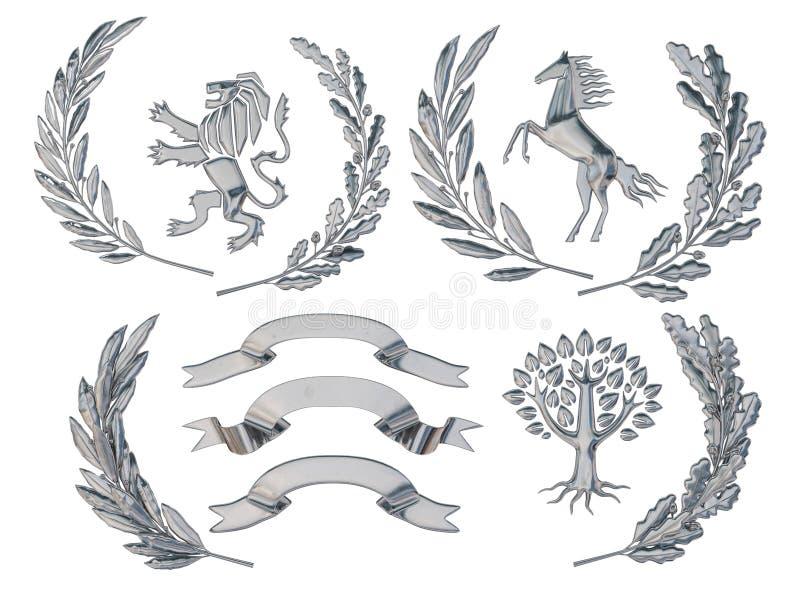 3D纹章的例证 一套对象 银色橄榄树枝,橡木分支,冠,狮子,马,树 向量例证