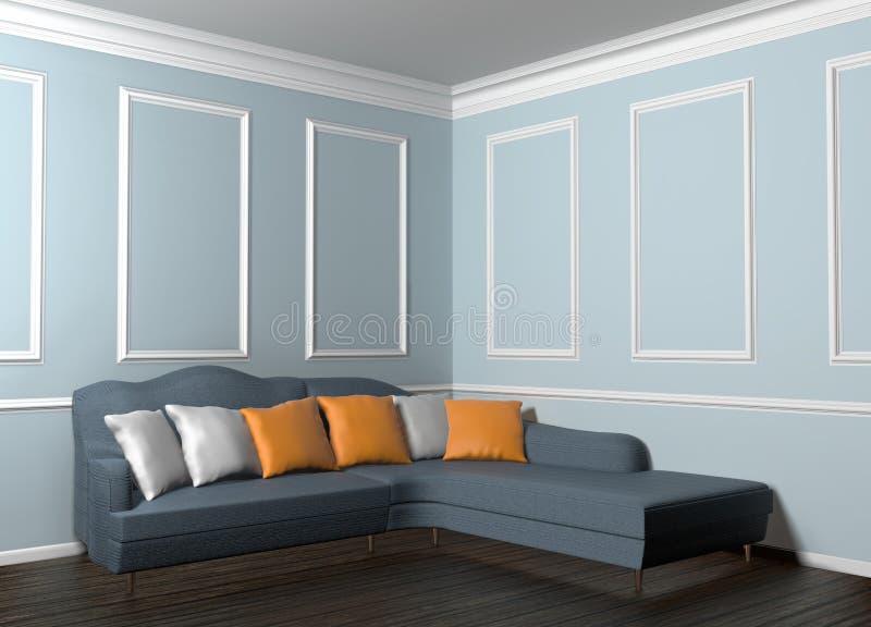 3d经典内部的例证与沙发的有很多枕头 向量例证