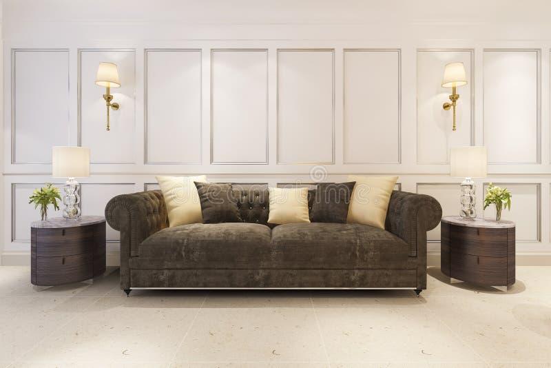 3d经典斯堪的纳维亚样式客厅的翻译嘲笑有沙发的 向量例证