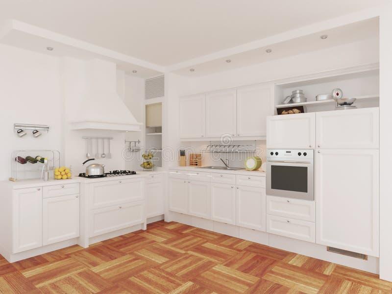 3d经典白色厨房室内设计翻译  向量例证