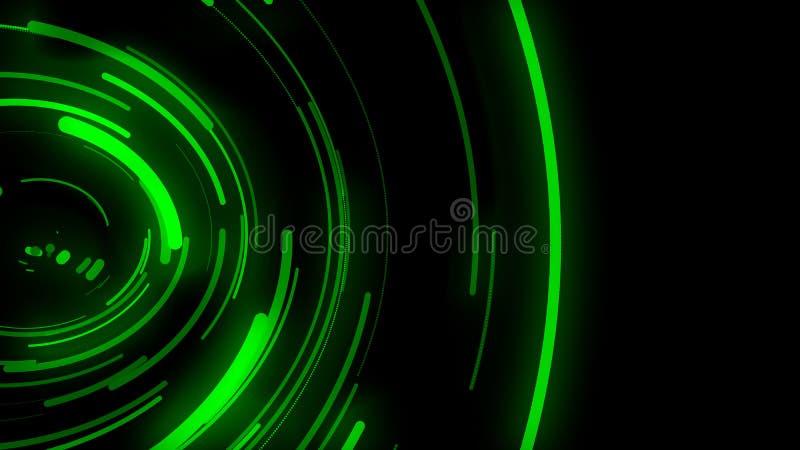 3D给背景,绿色曲线的运动赋予生命,曲线被分布,信号传输,溢出图象和在 库存例证