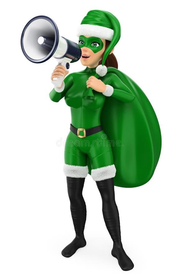 3D绿色妇女有大袋的圣诞节超级英雄谈话在兆 皇族释放例证