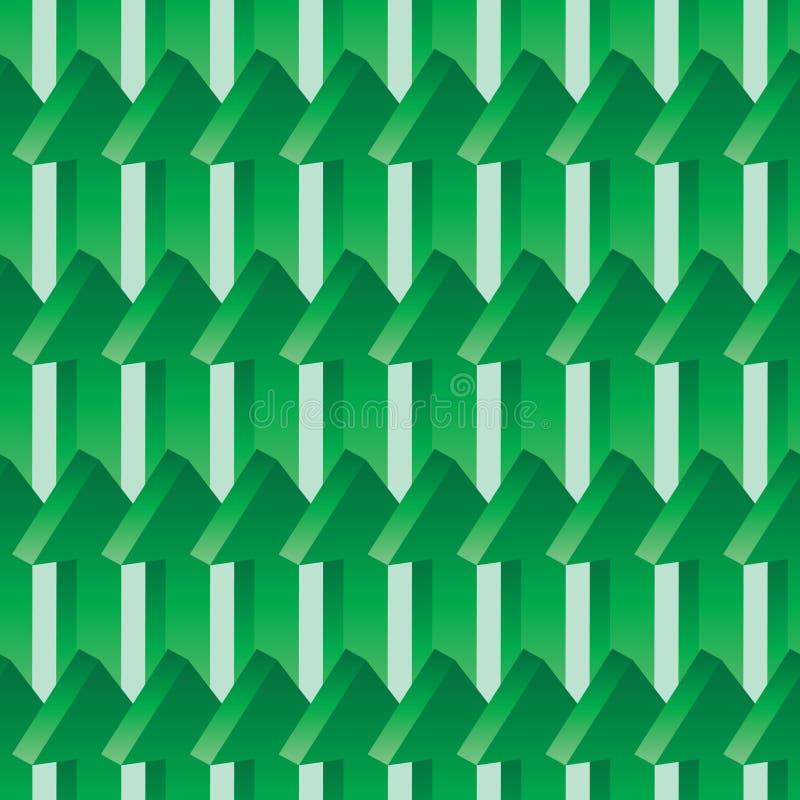 3d绿色无缝的样式的箭头 库存例证