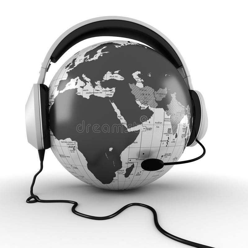 3d网上电话中心概念 向量例证