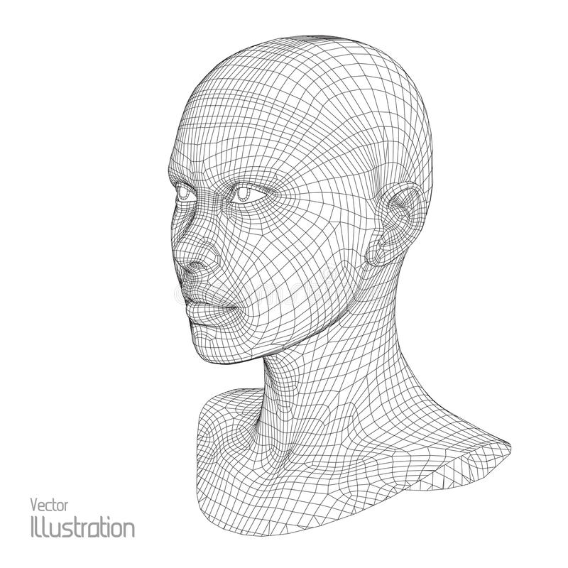 3d网格题头人员 人的导线模型 多角形 面孔扫描 视图 设计几何 多角形 库存例证