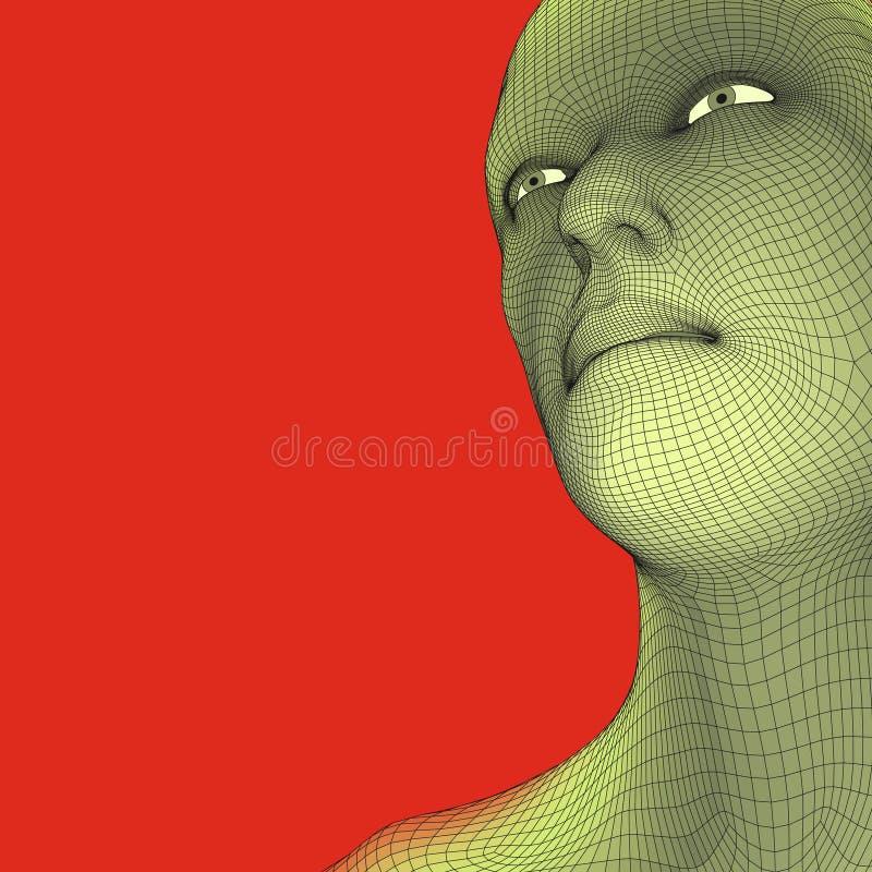 3d网格题头人员 顶头人力模型电汇 人的多角形头 面孔扫描 人头看法  3D几何面孔 向量例证
