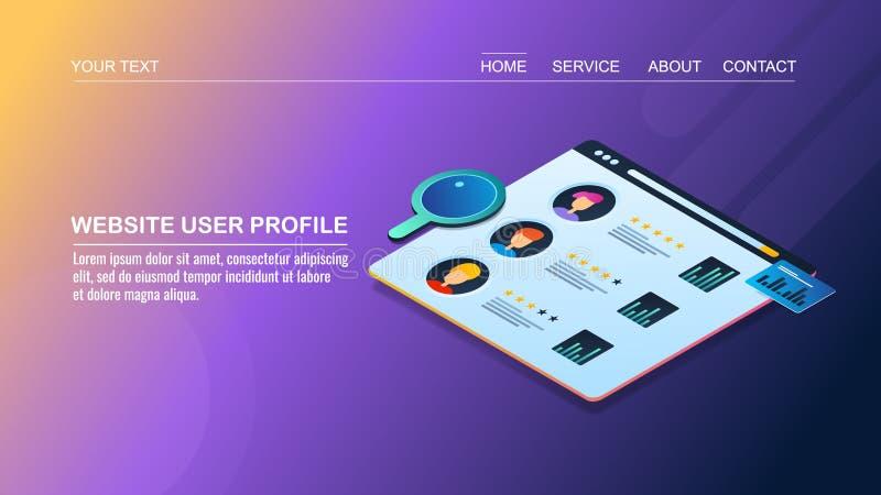 3d网站用户概况,管理,顾客数据,规定值的等量设计观念, 皇族释放例证