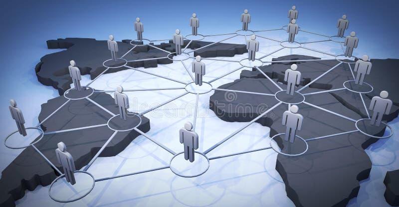 3d网络照片回报了社交 人道象和世界地图 库存照片