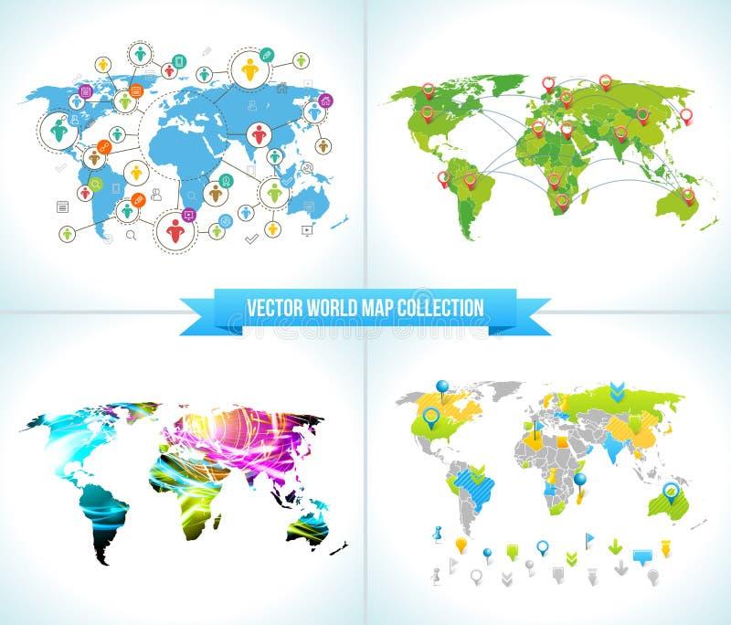 3d网络照片回报了社交 各种各样的被设置的形状闪耀的图表 与世界地图的汇集平的设计观念 队聊天 库存例证