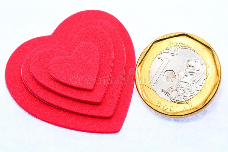 3d美丽的尺寸例证爱货币三非常 库存图片