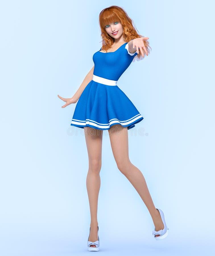3D美丽的年轻可爱的女孩蓝色礼服 向量例证