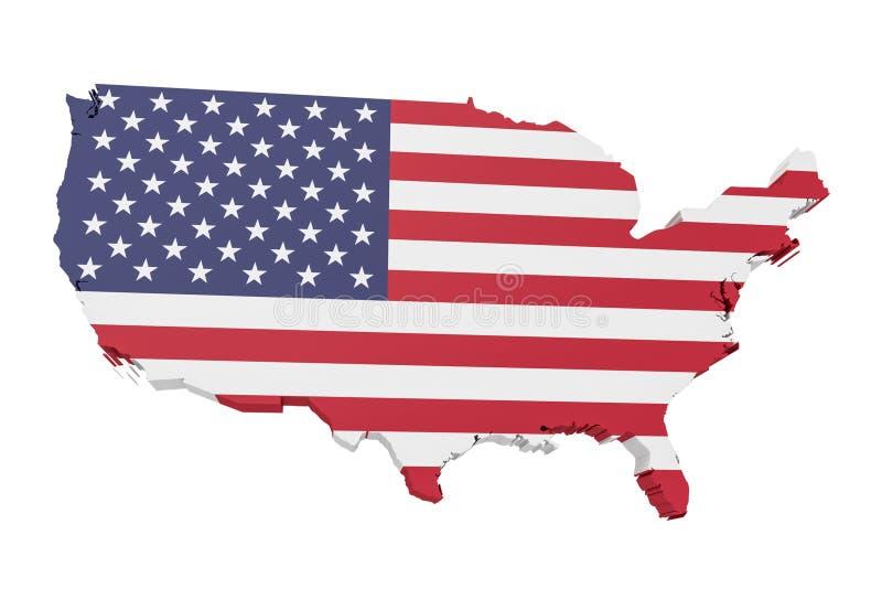 3d美国的例证映射与在白色背景的美国旗子 向量例证