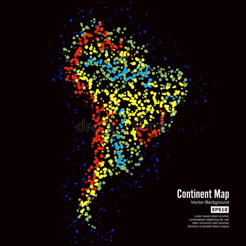 3d美国美好的尺寸形象例证南三非常 大陆地图摘要背景传染媒介 形成从在黑色隔绝的五颜六色的小点 皇族释放例证