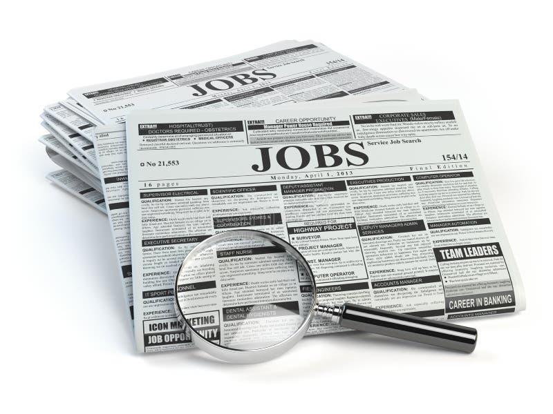 3d美好的尺寸例证工作三非常 有工作被隔绝的分类广告报纸的寸镜 库存例证