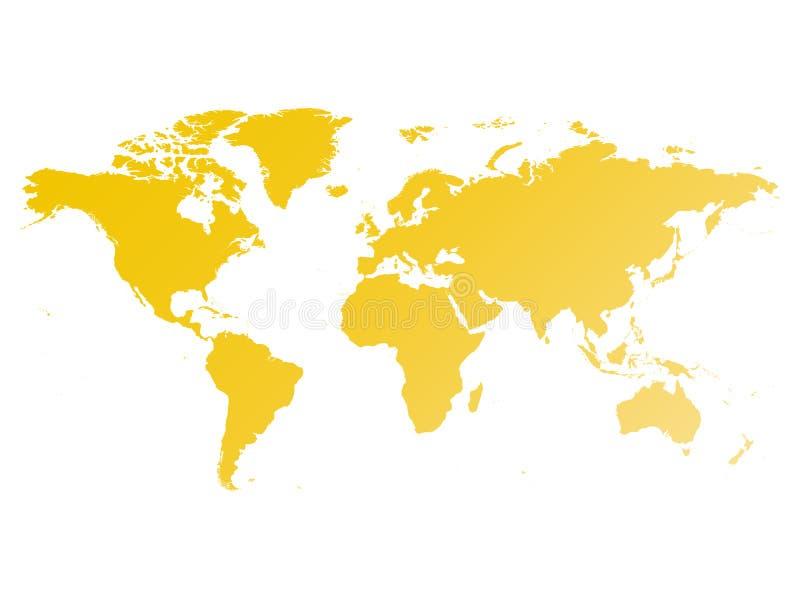 3d美好的尺寸图例证映射三非常世界 在白色背景隔绝的黄色梯度剪影传染媒介例证 库存例证