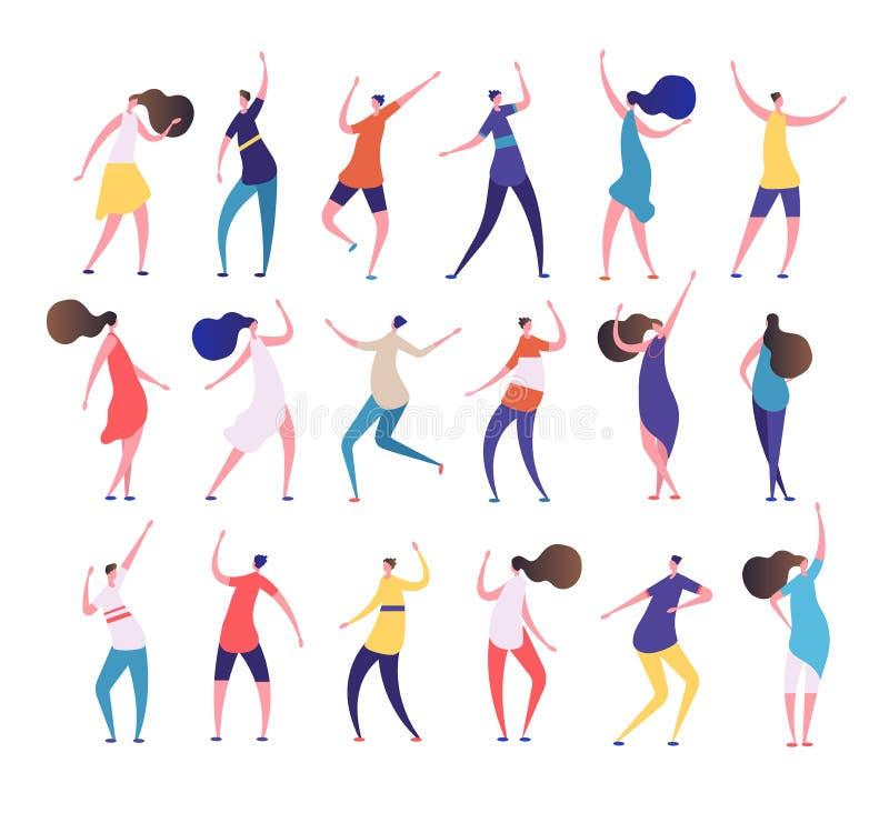 3d美好的跳舞尺寸例证人员三非常 动画片时髦的男人和妇女在党舞蹈俱乐部跳舞 聚成棍棒状一团人传染媒介字符 皇族释放例证