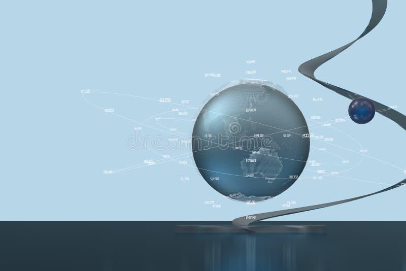 3d翻译、数据和地球图表 免版税库存图片