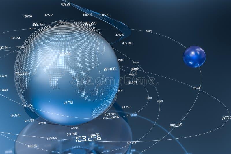 3d翻译、数据和地球图表 库存图片
