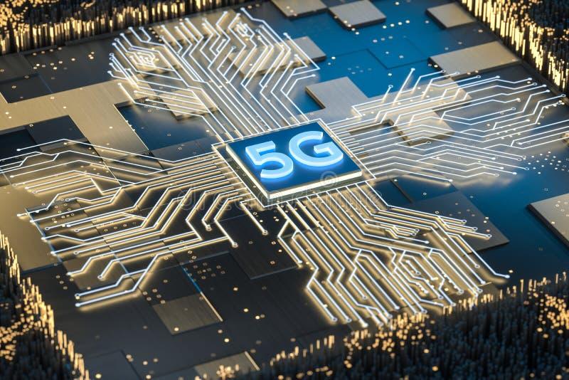 3d翻译、5g字体和电路背景 库存例证